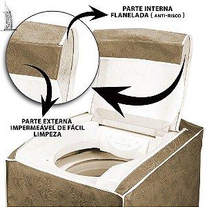 Capa para Máquina de Lavar Roupas Impermeável 7/8/9kg Bege