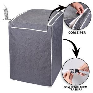Capa para Máquina de Lavar Roupas Impermeável 7/8/9kg Cinza