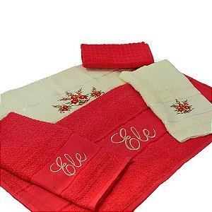 Jogo Toalha de Banho Elegance Bordado Ele Ela 5 pçs Vermelho