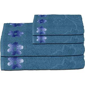 Jogo de Toalha de Banho Nobless Flor de Limas 4 pçs Azul