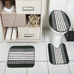 Jogo de Banheiro Tapete Ônix Pop 3 peças Verde Musgo