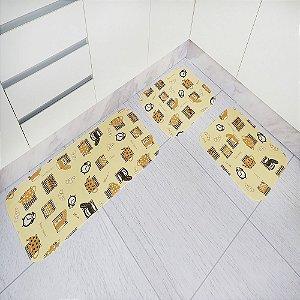 Jogo de Tapete de Cozinha Tecil Pop 3 peças Croassant