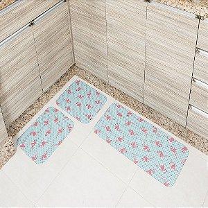 Jogo de Tapete de Cozinha Tecil Pop 3 peças Flamingo Azul