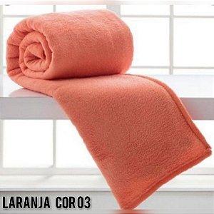 Mantinha Soft Manta Fleece Casal Microfibra Laranja