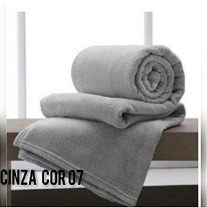 Mantinha Soft Manta Fleece Casal Microfibra Cinza
