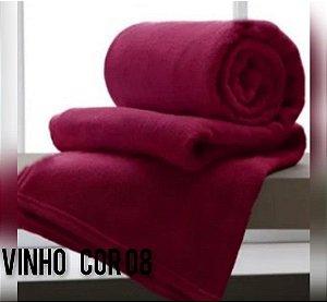 Mantinha Soft Manta Fleece Casal Microfibra Vinho