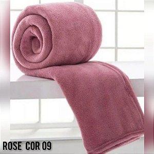 Mantinha Soft Manta Fleece Casal Microfibra Rosê