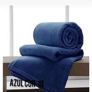 Mantinha Soft Manta Fleece Casal Microfibra Azul