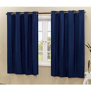 Cortina Blackout PVC corta 100 % a luz 2,80 m x 1,80 m Azul Marinho