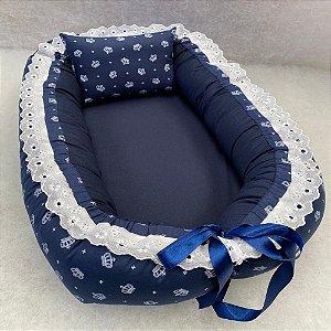 Ninho de Bebe Ninho Redutor de Berço Coroa Azul Marinho