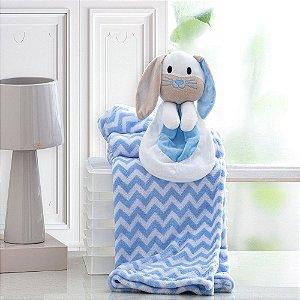 Cobertor Bebe Manta Soft Bebê Naninha Pelúcia Coelho Azul