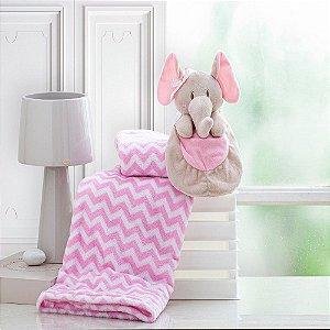 Cobertor Bebe Manta Soft Bebê Naninha Pelúcia Elefante Rosa