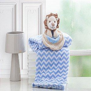 Cobertor Bebe Manta Soft Bebê Naninha Pelúcia Leão Azul