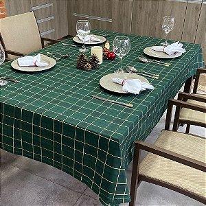 Toalha de mesa Natal Estampada para 6 Cadeiras Xadrez Verde