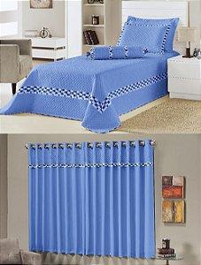 Kit Cobre Leito Azul Solteiro + Cortina Thierry 6 Peças