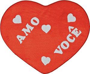 Tapete Formato Big Coração Amo Você 1,30m X 1,20m. em Pelúcia