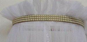 Dossel Pérolas Dourada com Mosquiteiro em Tule R31