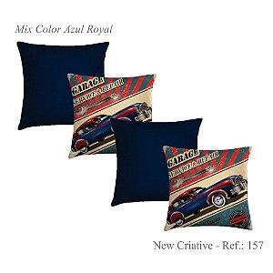 Kit 4 Capas Almofadas 2 Criativa Estampada 157 e 2 Lisas Azul