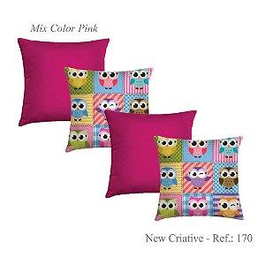 Kit 4 Capas Almofadas 2 Criativa Estampada 170 e 2 Lisas Pink