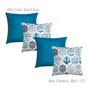 Kit 4 Capas Almofadas 2 Criativa Estampada 172 e 2 Lisas Azul Claro