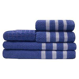 Jogo Toalhas 2 Banho 2 Rosto 1 Piso Tulipa 100% Algodão Azul