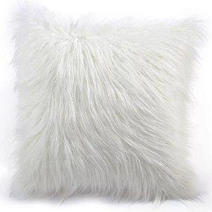 Capa Para Almofada Em Pelúcia Pelo Alto Peluda Branca