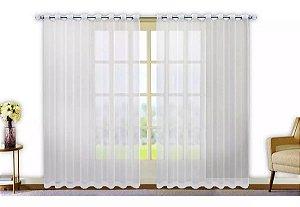 Cortina Varão Voil Liso Branco 3,00x2,30 Ilhós Cromado