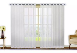 Cortina Varão Voil Liso Branca 2,80x1,80 Ilhós Cromado