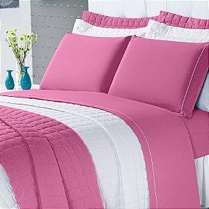Cobre Leito Montreal Casal Queen 3 Peças  100% Algodão 150 Fios Pink