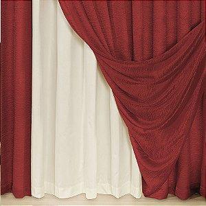 Cortina Helena 3,00m X 2,60m Varão Simples Cetim Vermelho