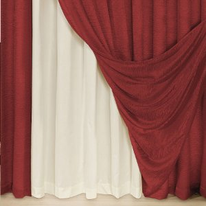 Cortina Helena 2,00m X 1,80m Varão Simples Cetim Vermelho