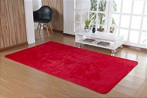 Tapete Liso Vermelho 2,00m x 1,50m Base Feltro Antiderrapante