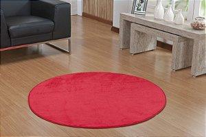 Tapete Liso Redondo Vermelho 1,50m Base Feltro Antiderrapante