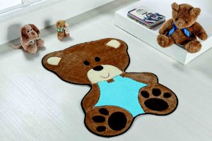 Tapete Formato Bebê Urso Turquesa Base Feltro Antiderrapante