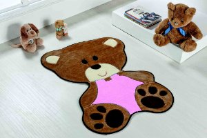 Tapete Formato Bebê Urso Rosa Base Feltro Antiderrapante