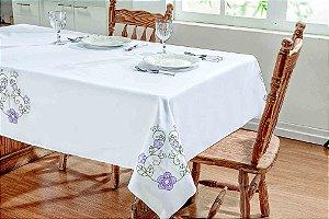 Toalha de Mesa Dália Tergal Verão Branco Lilás 1,40m
