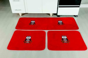 Kit Tapete De Cozinha Coruja 3 Peças Antiderrapante Vermelha
