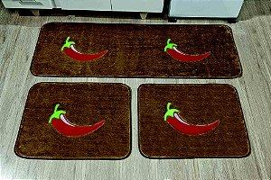 Kit Tapete De Cozinha Pimenta 3 Peças Antiderrapante Castor