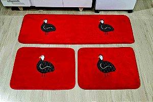 Kit Tapete De Cozinha Angola 3 Peças Antiderrapante Vermelha