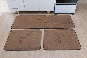 Kit Tapete De Cozinha Amo Cozinhar 3 Peças Antiderrapante Castor