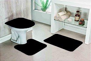 Kit Tapete de Banheiro Liso 3 Peças Antiderrapante Preto