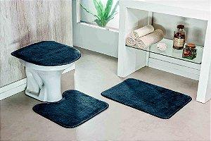 Kit Tapete de Banheiro Liso 3 Peças Antiderrapante Cinza
