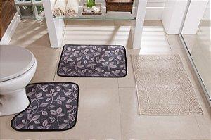 Kit Tapete de Banheiro Floral 3 Peças Antiderrapante Cinza