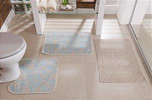 Kit Tapete de Banheiro Floral 3 Peças Antiderrapante Azul