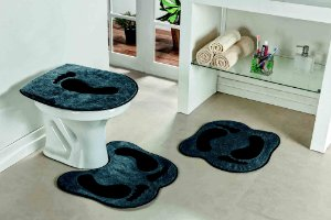 Kit Tapete de Banheiro Formato 3 Peças Antiderrapante Pegada Cinza