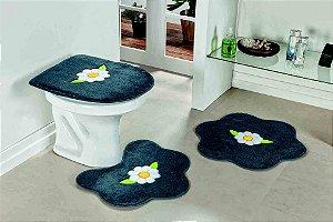 Kit Tapete Banheiro 3 Peças Antiderrapante Margarida Folhas Cinza