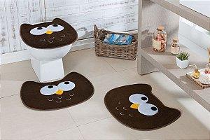 Kit Tapete de Banheiro 3 Peças Antiderrapante Coruja Café