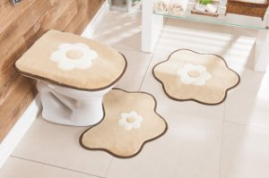 Kit Tapete de Banheiro 3 Peças Antiderrapante Margarida Bege