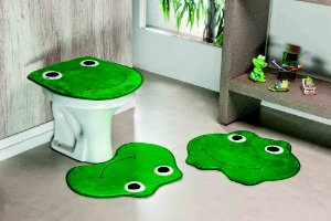 Kit Tapete de Banheiro 3 Peças Antiderrapante Sapo Verde