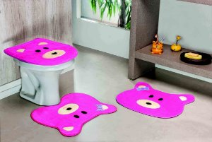Kit Tapete de Banheiro 3 Peças Antiderrapante Ursa Pink